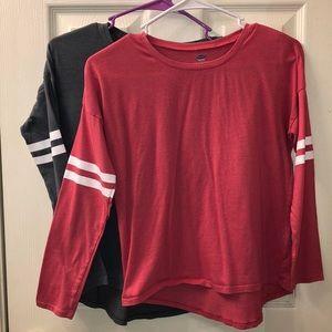 2 Girls Old Navy Long Sleeve Shirts. Size 10/12